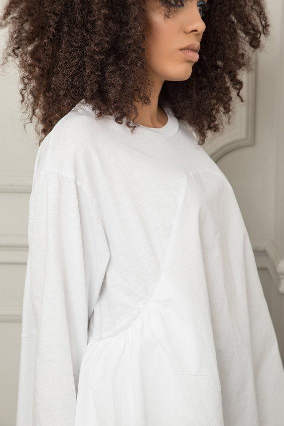 Long Women Summer Loose Tunic Top Tunic White White Tunic Plus Sleeve Evening Top Top Top Top Maternity Tunic Size Asymmetrical Top qqZvS