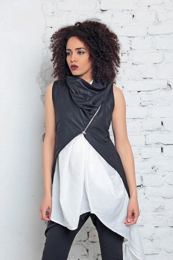 Leather Vest, Women Vest, Futuristic Clothing, Summer Vest, Gothic Top, Asymmetric Vest, Short Black Vest, Sleeveless Top, Extravagant Vest