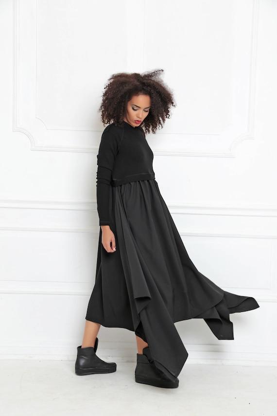 Black Maxi Dress Asymmetrical Dress Plus Size Maxi Dress Etsy