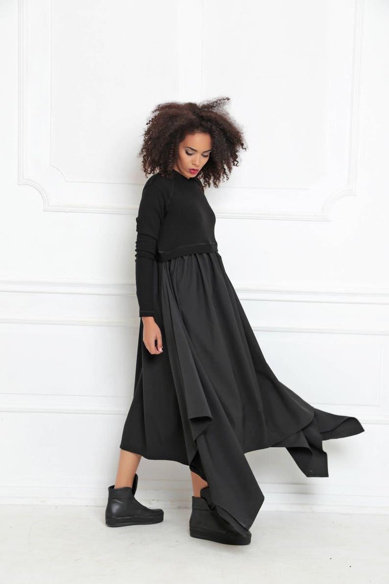 Black Maxi Dress Asymmetrical Dress Plus Size Maxi Dress | Etsy