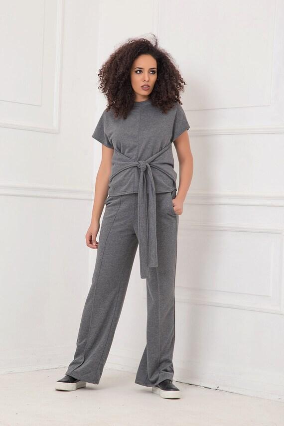Pantalones De Mujer Pantalones Grises Pantalones De Mujer Etsy