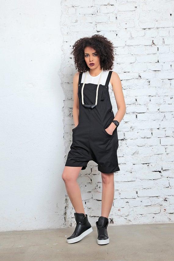 Jumpsuit Summer Black Sleeveless Jumpsuit Romper Top Cotton Overall Short Romper Clothing Romper Short Womens Urban Racerback vvqw15r