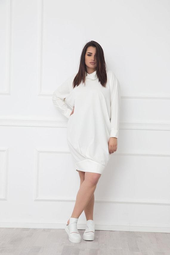 White Tunic Dress, Long Sleeve Dress, Turtleneck Dress, Bubble Dress, Loose  Sweater Dress, Minimalist Clothing, Plus Size Clothing, Oversize