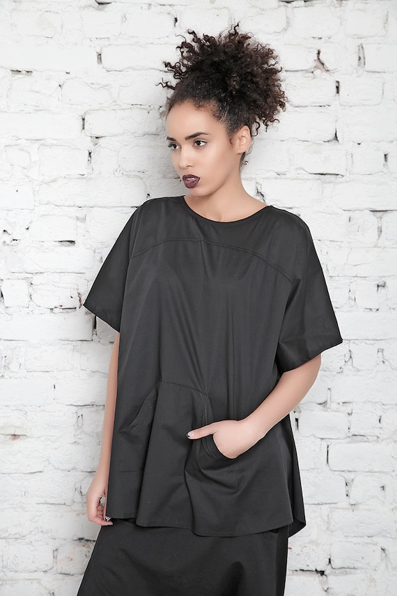 Tunic Shirt Shirt Black Black Size Blouse Shirt Short Top Top Shirt Women Loose Plus Tunic Club Top Top Sleeve Oversize Casual Top wFOEqBHq