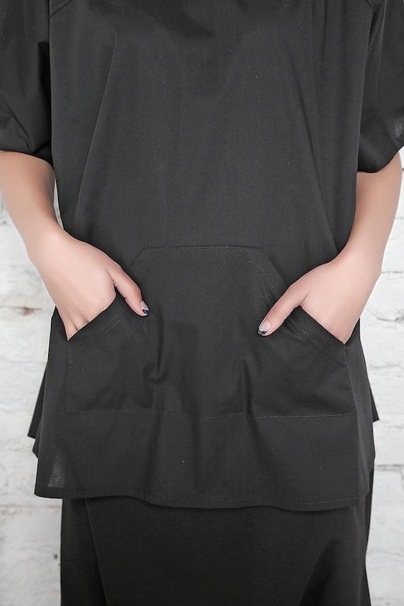 Tunic Shirt Shirt Black Black Size Blouse Shirt Short Top Top Shirt Women Loose Plus Tunic Club Top Top Sleeve Oversize Casual Top wFOEqBHq