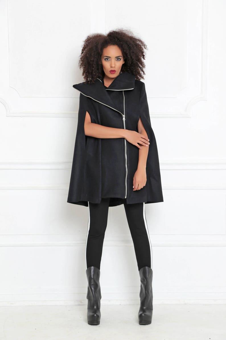 ce77e042d34 Womens Cape Coat Black Poncho Cape Plus Size Goth Coat