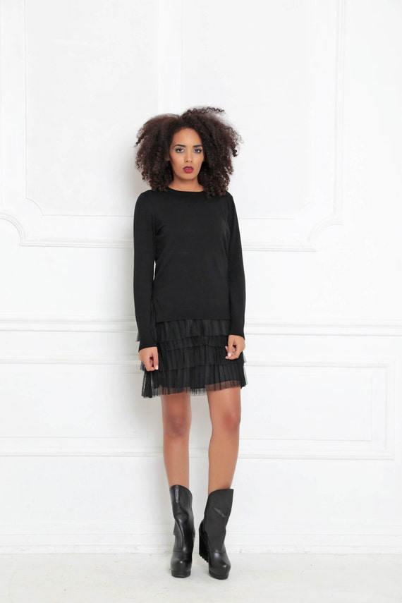 Dress Dress Dress Long Loose Steampunk Knit 3017 Dress A Short Gothic Dress Dress Women Tunic Clothing Dress Tulle Black xXSvqdpp