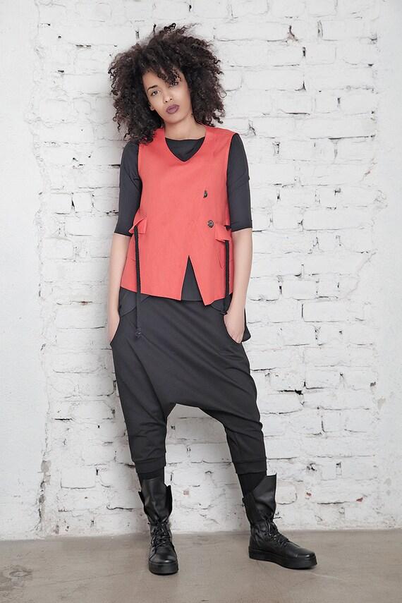 Wrap Linen Orange Top Vest Suit Women Short Custom Vest Vest Vest Top Jacket Vest Vest Oversize Sexy Top Vest Short Jacket qfgOq