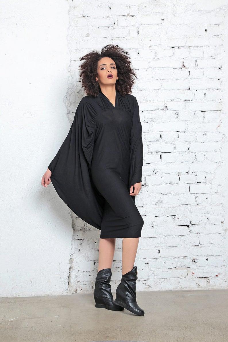 86860016206 Goth Dress Batwing Dress Black Midi Dress Avant Garde