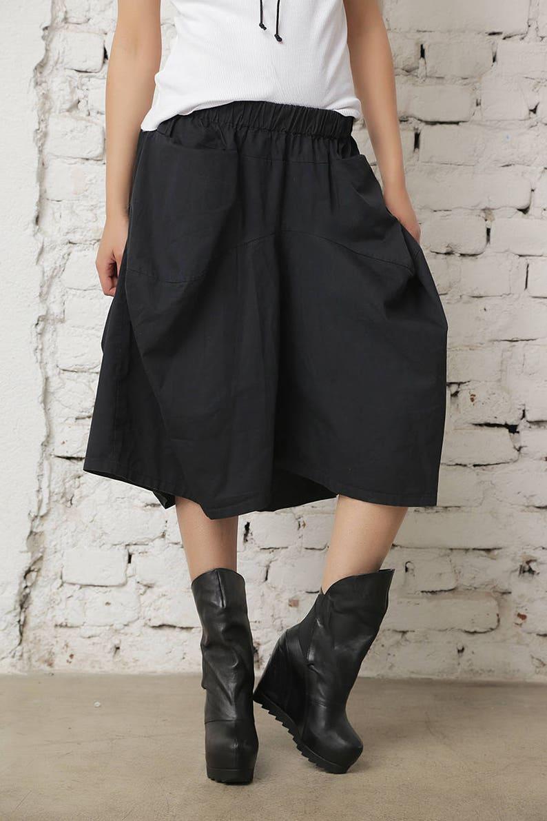 3db532f240c3 Gonna nera pantaloni gonna di cotone oltre a dimensioni Midi | Etsy
