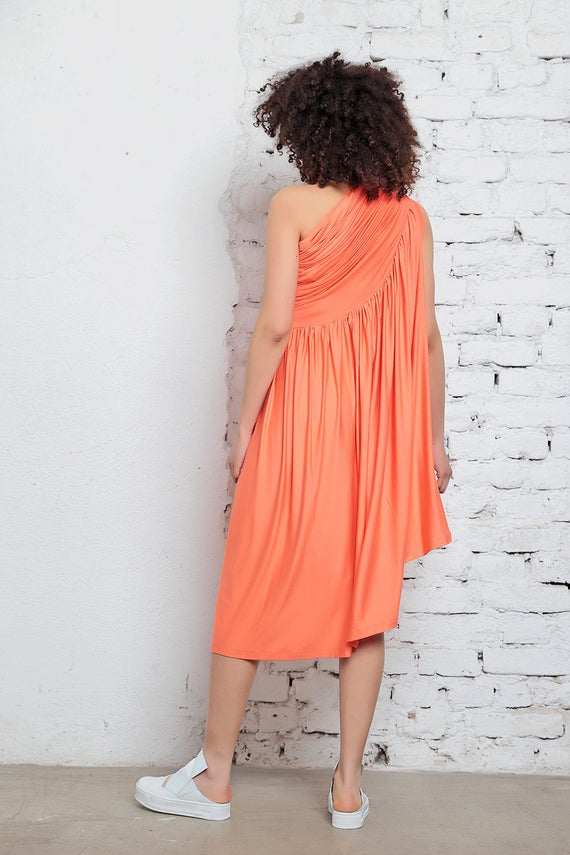 Dress Clothing Bohemian Asymmetric Romantic Shoulder Dress Off Midi Orange Dress Dress Dress Pleated Party Dress Dress Dress Cocktail w4Txn
