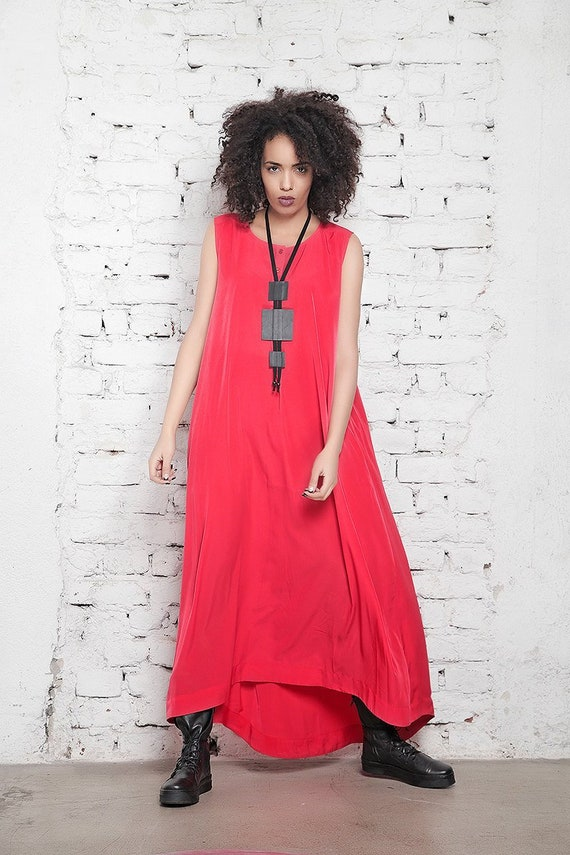 Plus Size Maxi Dress, Coral Dress, Dress For Women, Plus Size Clothing,  Sleeveless Dress, Women Kaftan Dress, Loose Dress, Women Clothing