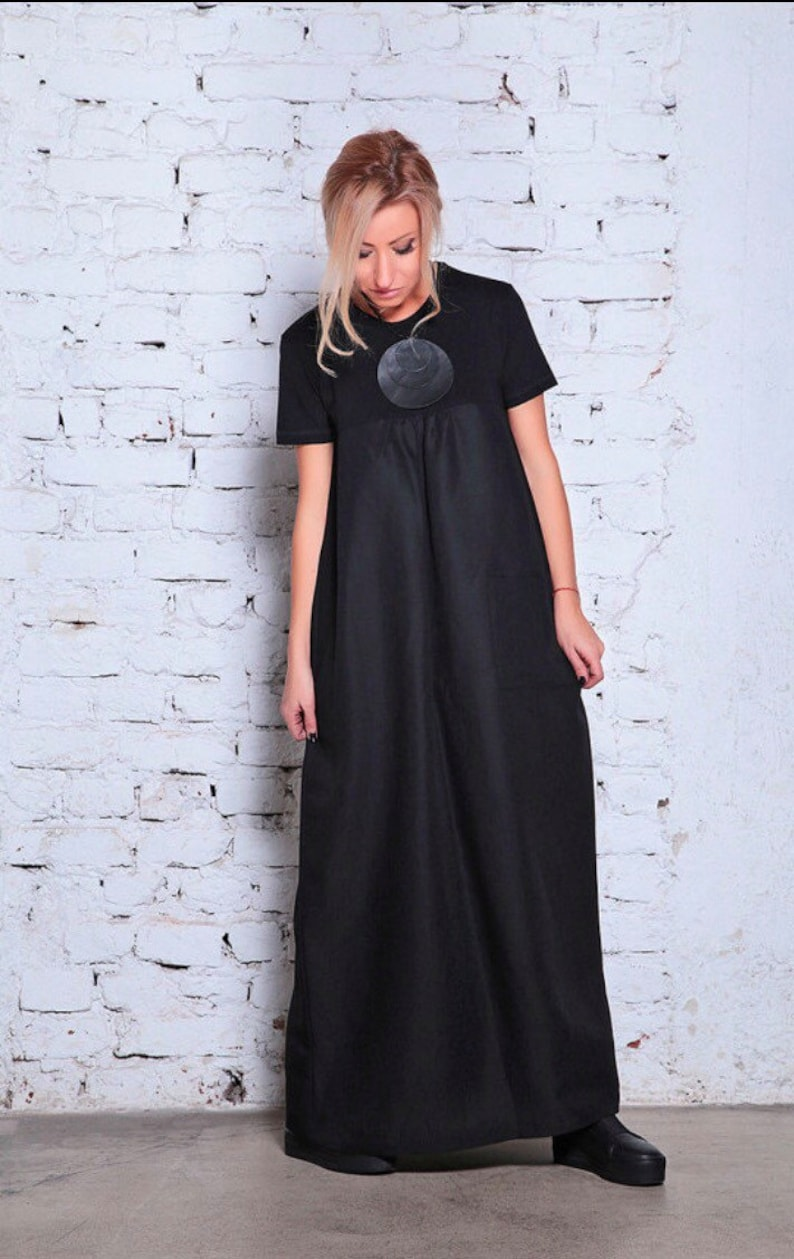 a1082859598 Black Caftan Maxi Dress Plus Size Boho Dress A Line Dress