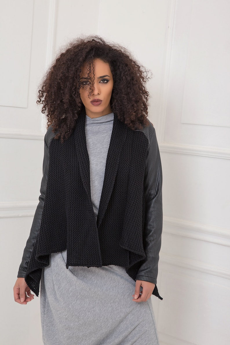 7aa3126e70d1a Winter Cardigan Black Cardigan Plus Size Clothing Leather