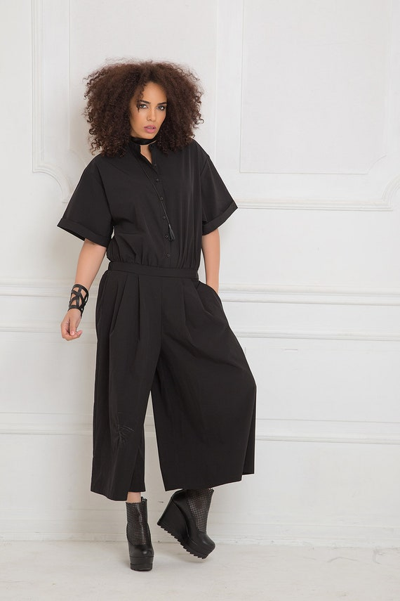 Overall Maxi Jumpsuit Japanese Gothic Harem Minimalist Clothing Clothing Women Jumpsuit Size Black Plus Pants Romper Black Clothing ZYqxA
