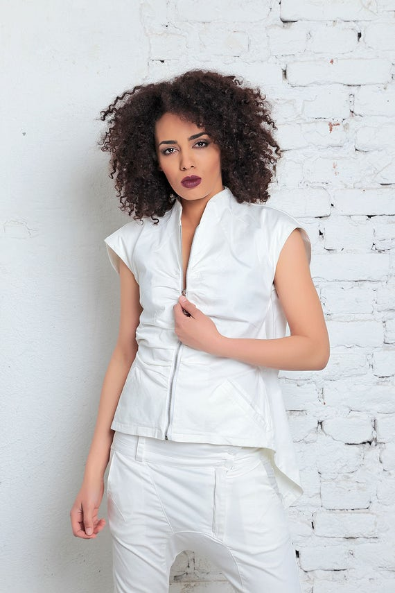 White Women Top Summer Top Futuristic Sleeve Fashion Top Clothing Summer White Party Zipped Clothing Short Top Summer Blouse Blouse 6z5wr4Hnzq