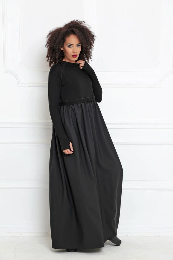 Winter Maxi Dress Waist Black Women Dress Dress Abaya Maxi Dress Long Dress Funky Sleeve High Steampunk Long Clothing Dress Dress xwf6xHUA