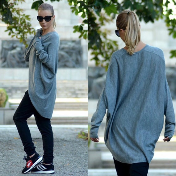 Blouse Sweater Draped Top Size Loose Top Size Long Jumper Top Plus Top Plus Sleeve Maxi Women Casual Top Oversize Sweater wd0Bqp