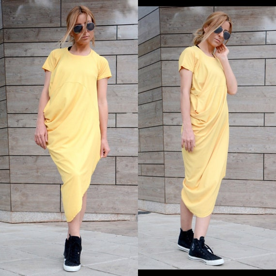 Clothing Dress Boho Midi Women Dress Yellow Women Adeptt Size Oversized Sleeve Dress Short Drape Trendy Dress Dress Plus Dress f8gTgp