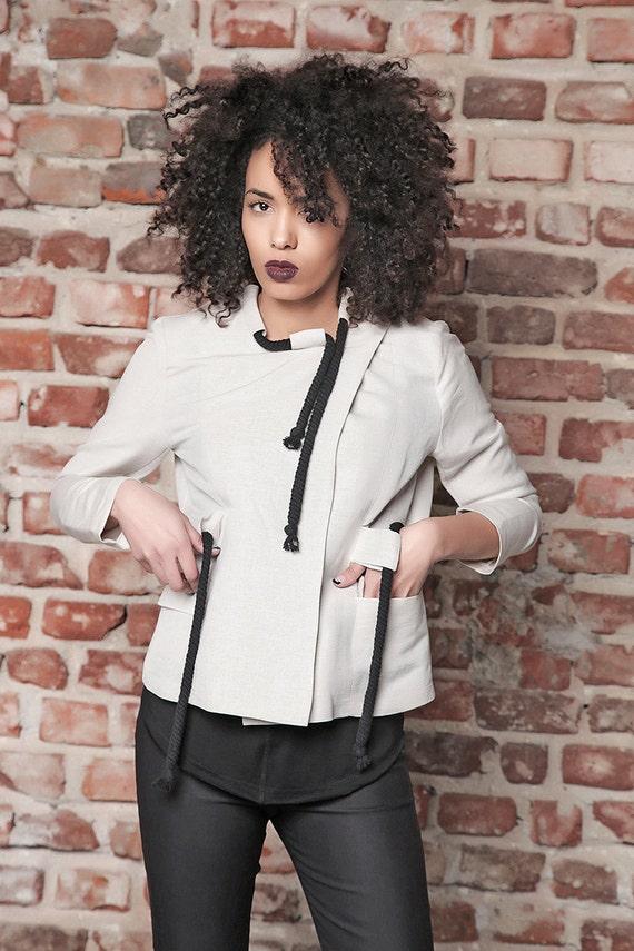 White Jacket Jacket Jacket Jacket Linen Blazer Blazer Short Top Jacket Women Size Linen Plus Oversize Cardigan Elegant Blazer StqwI4