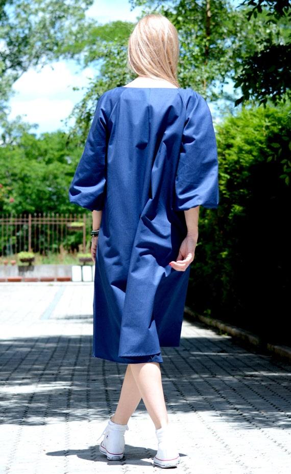 Plus Cobalt Club Dress Dress Midi Dress Size Long Clothing Dress Summer Sleeve Oversized Dress Blue Cocktail Dress Blue Dress Women qY4FPB