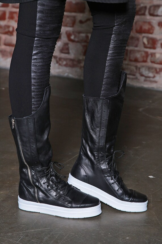 Boots Leather Boots Boots Combat Black Women Boots Sport Sneakers High Black Boots Sneakers Boots Casual Sneakers Women qxYptA