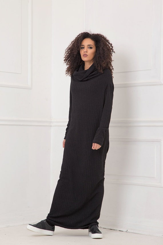 Maxi Dress, Black Dress, Plus Size Clothing, Cowl Neck Dress, Gothic  Clothing, Plus Size Maxi Dress, Long Sleeve Dress, Knitted,Modest Dress