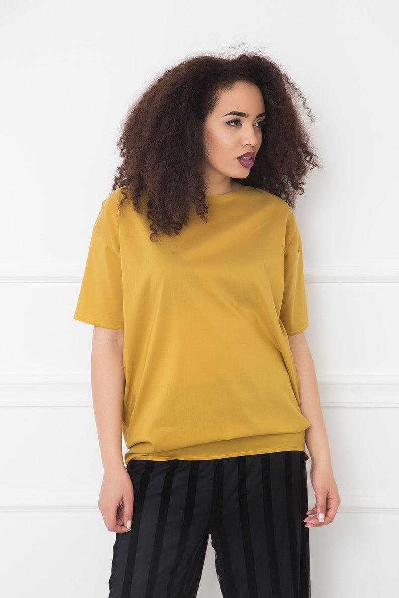 Plus Size Clothing Mustard Top With Layered Back Detail Futuristic Clothing Avant Garde Top Party Loose Top Oversize Top Women Top