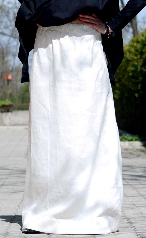 White Linen Length Skirt Skirt Skirt Skirt Full Skirt Skirt White Length Plus Floor Size Linen Linen Skirt Maxi Skirt Long PzOx5gw