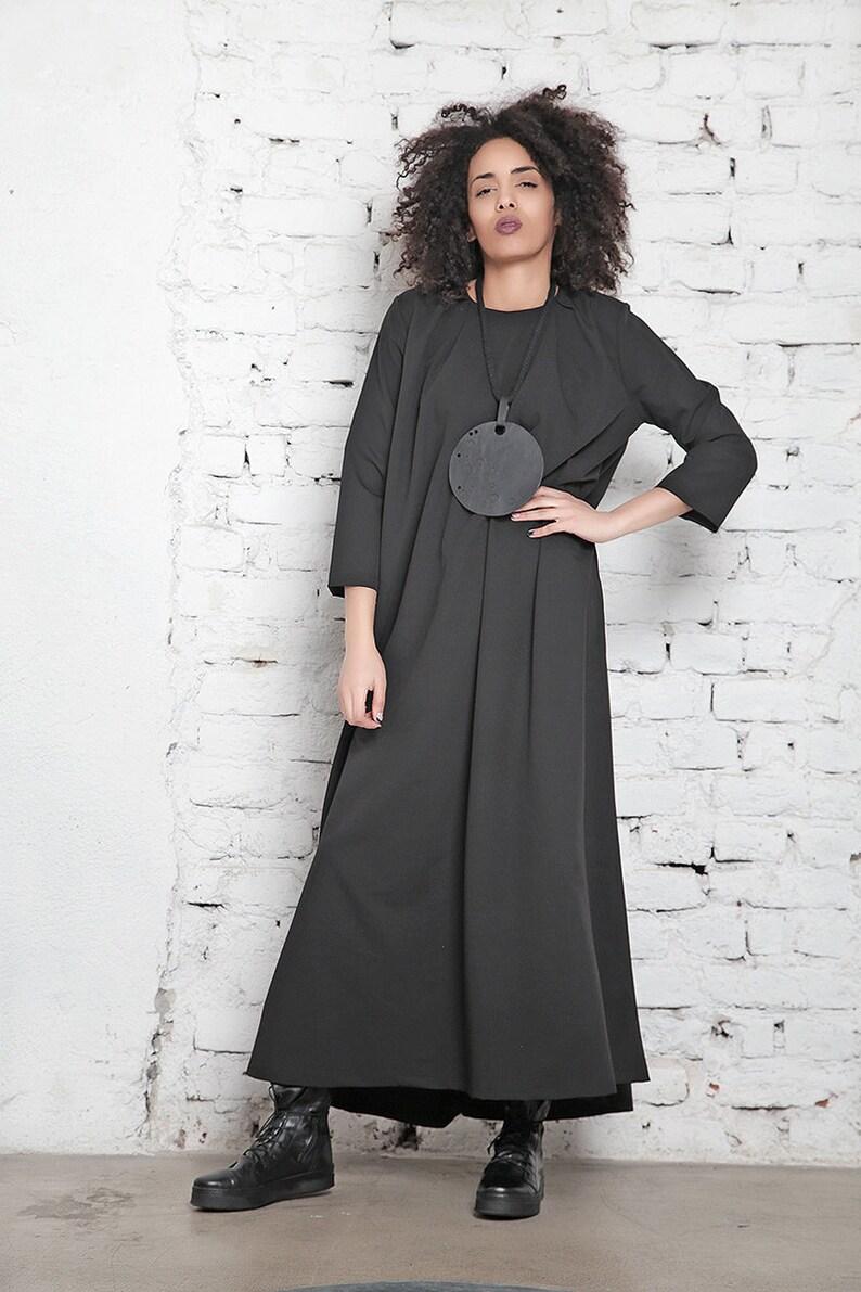 Plus Size Maxi Dress/ Black Maxi Dress/ Oversize Dress/ Casual Dress/ Wool  Maxi Dress/ Gothic Dress/ Plus Size Clothing/ Long Sleeve Dress