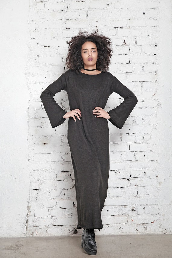 Kaftan Oversized Sleeve Size Maxi Dress Dress Caftan Plus Knitted Long Black Black Dress Dress Dress Black Long Women Maxi Dress FYxqt8O