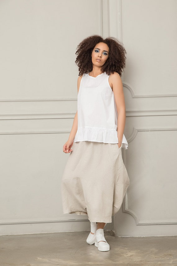 Linen Linen Long Pants Harem Skirt Harem Linen Beige Pants Crotch Skirt Pants Pants Pants Pants Drop Clothing Skirt Pants Baggy 551rwSAq