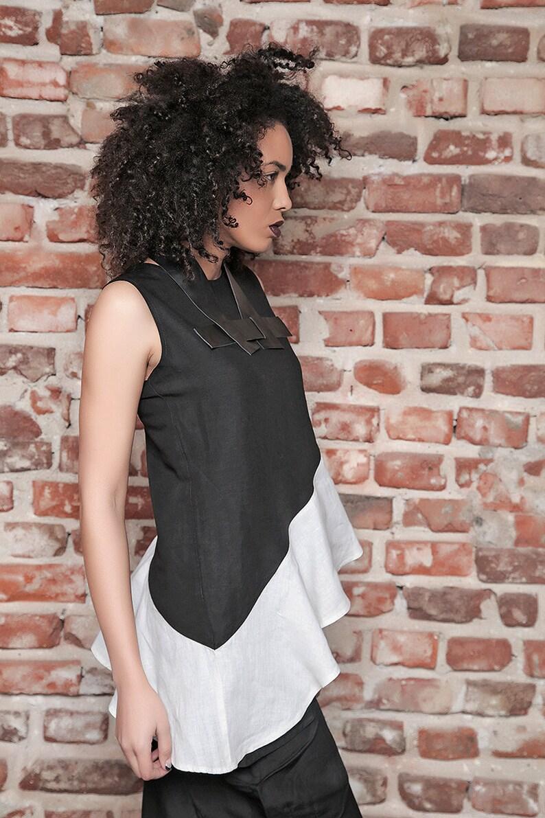 Asymmetric Tunic Formal Black and White Tunic Sleeveless Tunic Top Cocktail Top Plus Size Tunic Elegant Tunic Linen Top Gothic Top