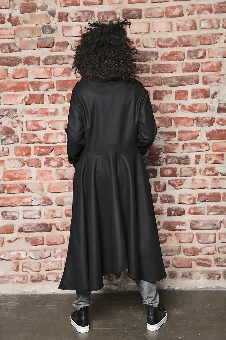 Black Jacket Asymmetric Coat Long Wool Coat Futuristic Clothing Winter Jacket Long Coat Black Coat Black Cape Winter Coat Maxi Coat