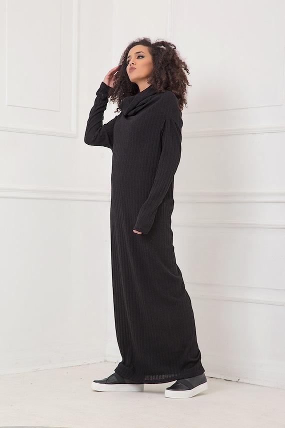 Maxi Dress, Black Dress, Plus Size Clothing, Cowl Neck Dress, Gothic  Clothing, Plus Size Maxi Dress, Long Sleeve Dress, Knitted,Modest Dress