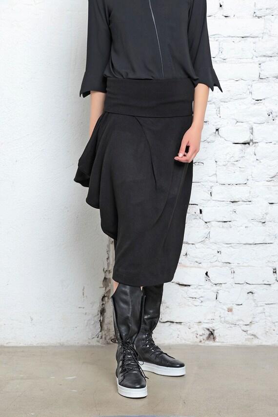 Wear Skirt Knitted Cotton Skirt Festival Skirt Summer Loose Black Skirt Midi Skirt Draped Street Clothing Skirt Skirt wxFCnqTf4