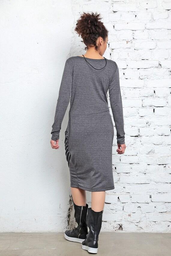Formal Dress Dress Dress Gray Dress Dress Dress Neck Dress V Wrap Sleeved Length Long Knee Dress Urban Dress Spring Chic OqnH01wnx4