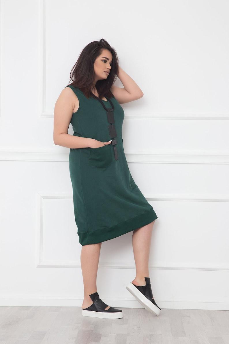 Olive Green Dress With Pockets, Midi Dress, Shift Dress, Plus Size Dress,  Urban Dress, Minimalist Clothing, Summer Dress, Oversize Dress