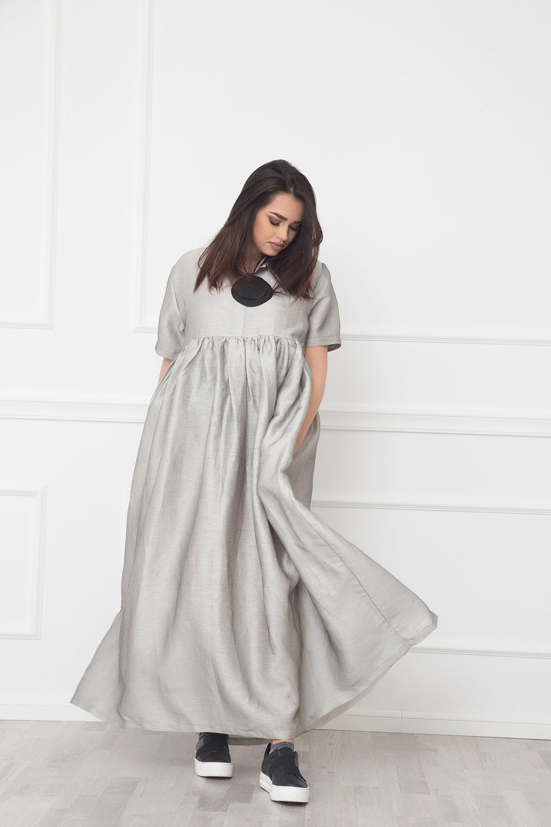 Silver Linen Dress With Collar, Plus Size Dress, Kaftan Dress, Maxi Dress,  Boho Linen Dress, Shirt Dress, Plus Size Clothing, Linen Clothing