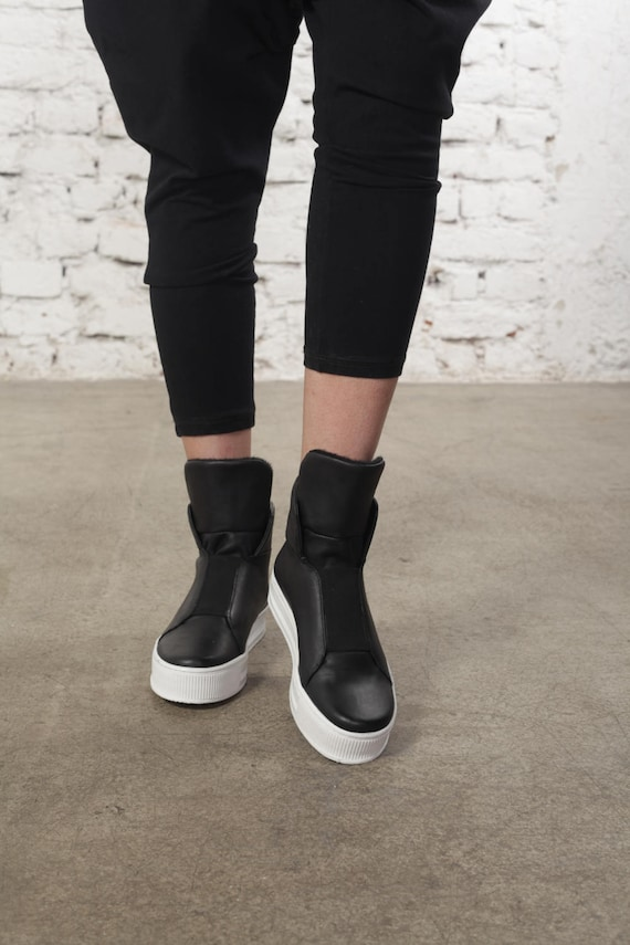 Sneakers Leather Flats Shoes Women Grunge Sneakers Black Flats Leather Urban Shoes Ladies Summer Sneakers Sneakers Shoes Black EBzZYqw