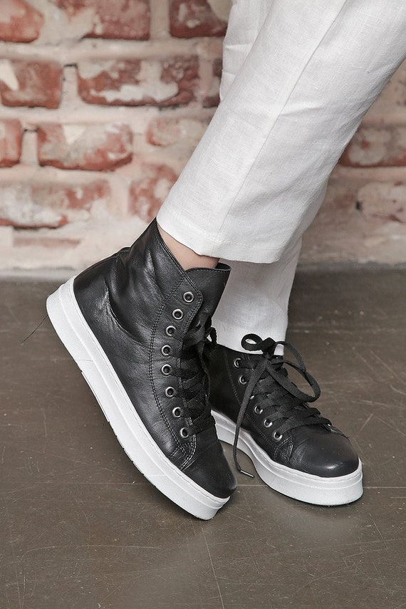 Leather Sneakers, High Top Sneakers, Flat Shoes, Black And White Shoes, Comfortable Shoes, Hippie Shoes, Grunge Shoes, Designer Shoes