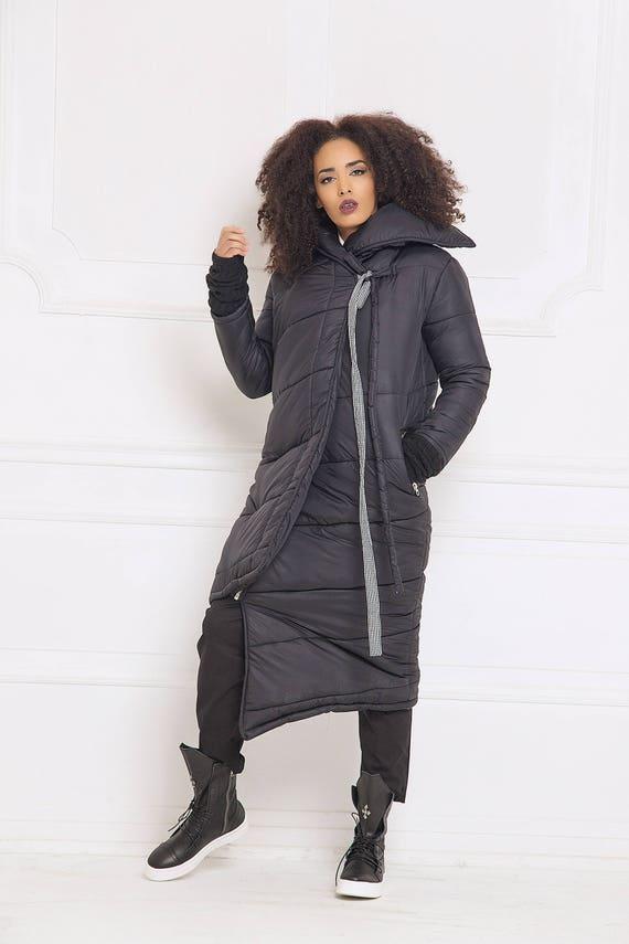 Warm Black Asymmetric Jacket Jacket Plus Maxi Jacket Jacket A3058 Jacket Long Winter Jacket Clothing Size Jacket Sleeve Oversized 51xvIqrx