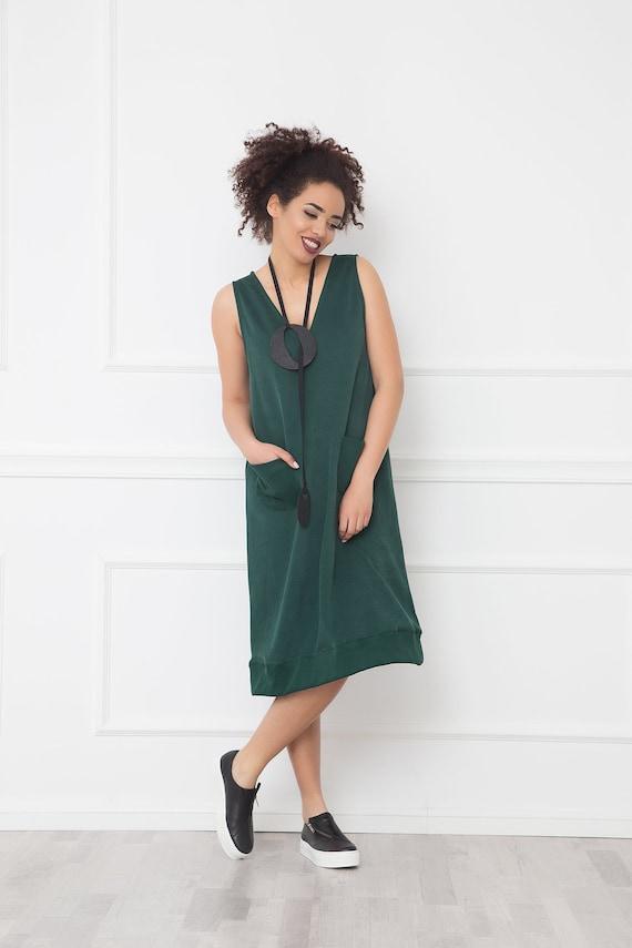 Olive Green Dress With V Neckline, Summer Dress, Midi Dress, Plus Size  Clothing, Boho Dress, Loose Dress, Casual Dress, Minimalist Clothing