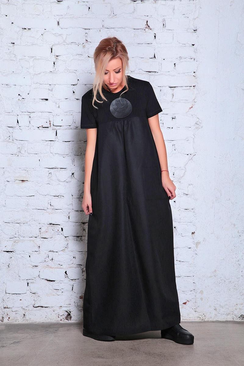Linen Maxi Dress, Black Linen Dress, Plus Size Clothing, Plus Size Maxi  Dress, Plus Size Linen Dress, Black Caftan Dress, Maxi Kaftan Dress