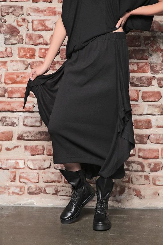 Womens Skirt Skirt Festival Boho Skirt Black Hippie Asymmetrical Gypsy Skirt Skirt Skirt Skirt Skirt Black Sexy Black Skirt Long Day rCqwrBcA