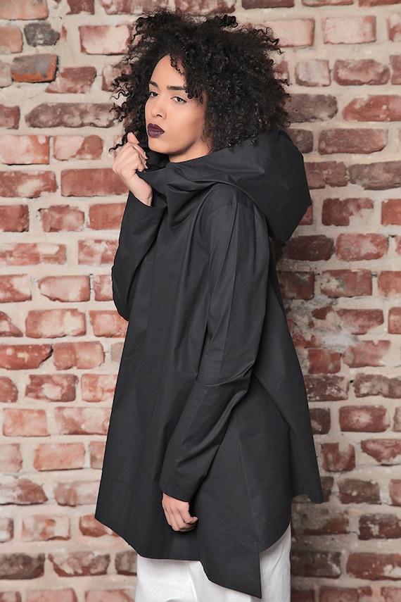 Loose Black Tunic Sweatshirt Tunic Workout Plus Plus Hoodie Tunic Size Size Hoodie Black Maxi Sweater Hoodie Loose Asymmetric gEqw55