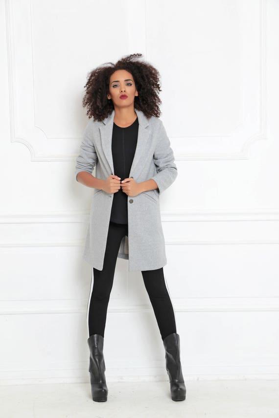 Frauen Grauen BaumwolljackeMaxi JackeMode Size Kleidung Graue HerbstWinterkleidungBoho Plus MantelLässige Mantel TK1c3FlJ