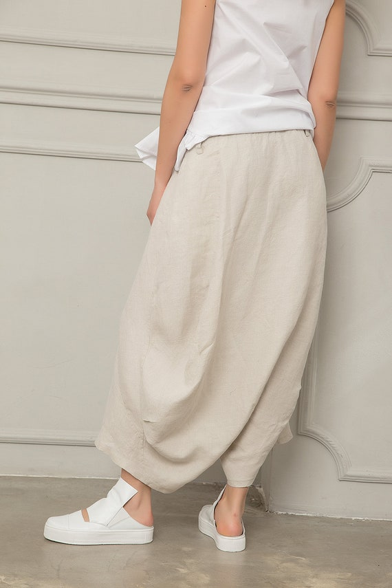 Pants Harem Baggy Beige Skirt Skirt Pants Drop Linen Pants Pants Clothing Pants Crotch Skirt Linen Linen Pants Long Pants Harem gqpdFwp