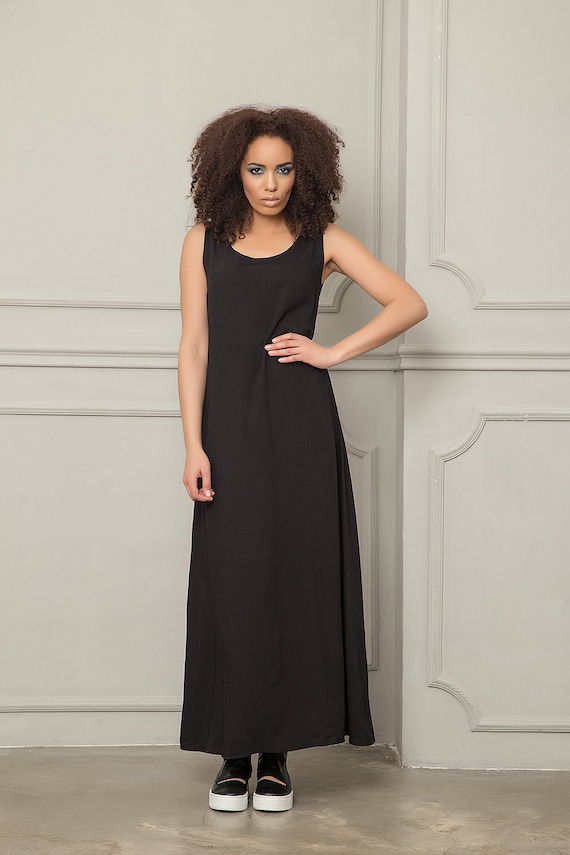 Maxi Dress, Plus Size Dress, Tank Dress, Black Maxi Dress, Summer Dress,  Casual Black Dress, Loose Long Dress, Summer Clothing, Women Dress