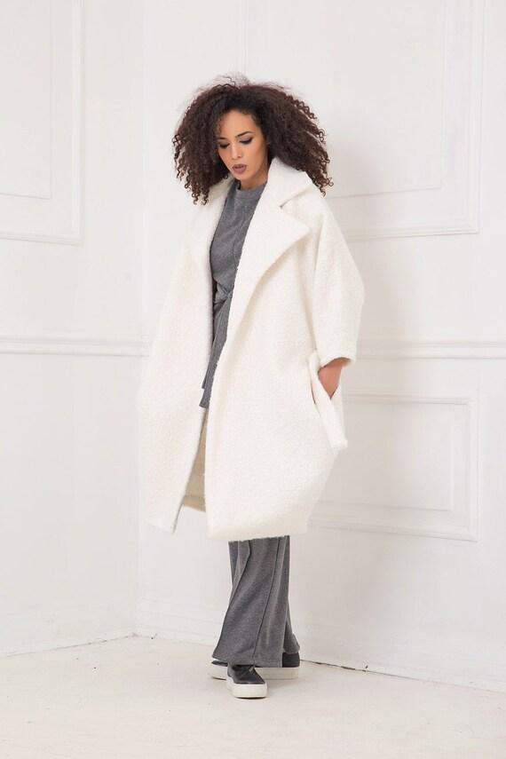 shop latest discount hot sale online Winter Coat, White Coat, Plus Size Clothing, Long Coat, Women Coat,  Bohemian Clothing, Long Sleeve, Warm Coat, Japanese Clothing,Cocoon Coat